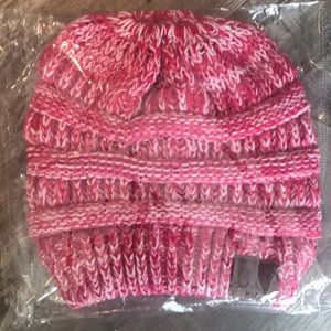 CC Beanie Pink Hat with ponytail hole